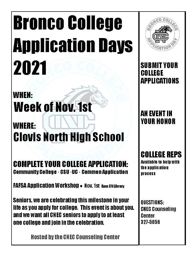 Bronco College Application Day