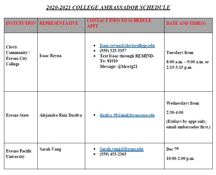 College Ambassador Schedule