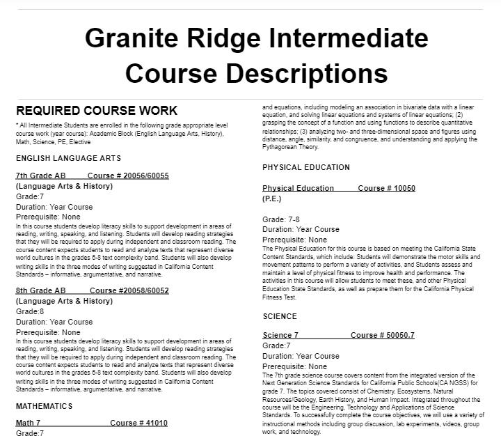Granite Ridge Course Descriptions